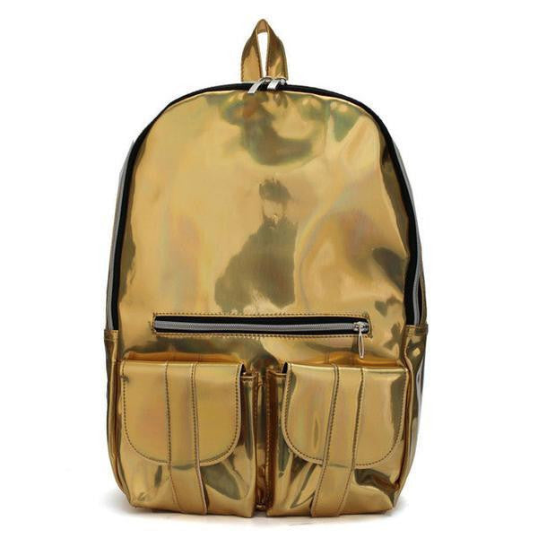 Backpack - Multicolor Leather Laser Holographic Backpack