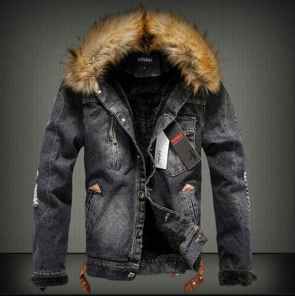 Mens Warm Retro Ripped Denim Jacket with Fur Collar Fleece Jeans Coat