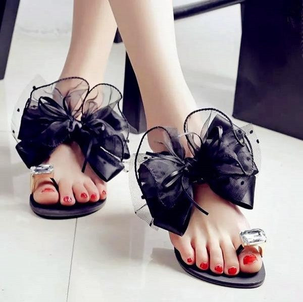Shoes - Luxury Lace Organza Bow Rhinestone Flat Slippers