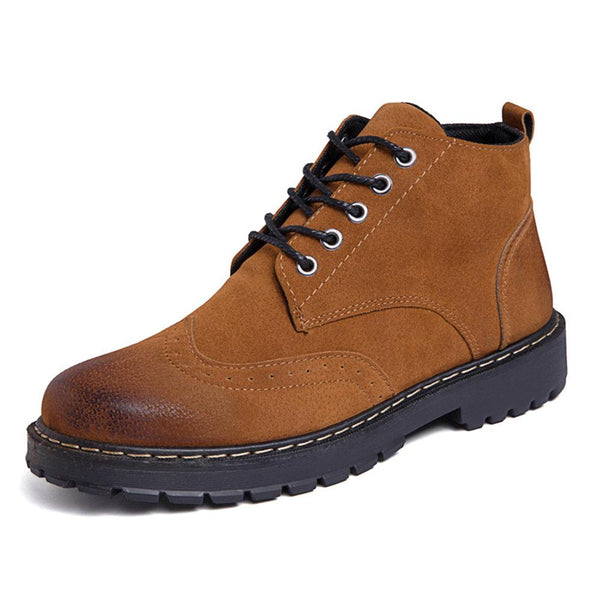 138921 Men Retro Color Slip Resistant Brogue Causal Leather Boots