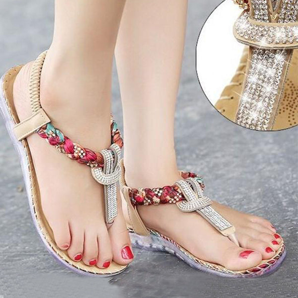 e77dcbfb4ed95 Shoes - Large Size Exquisite Bohemian Rhinestone Sandals – Feature Mall