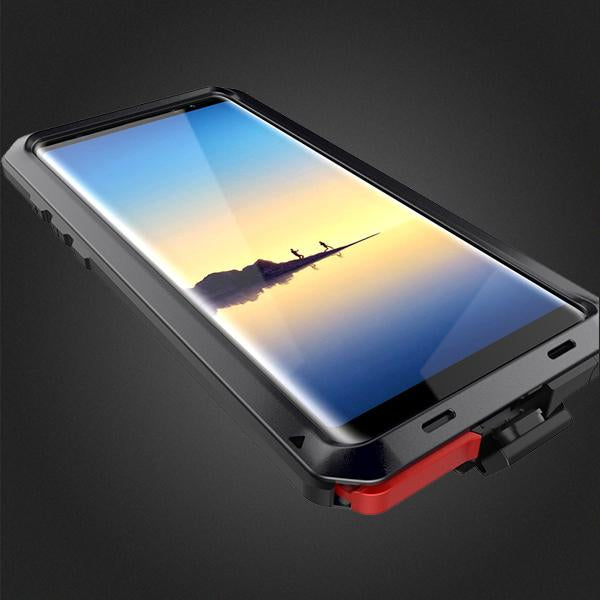 timeless design 117a6 129e7 Luxury Doom Armor Dirt Shock Waterproof Metal Aluminum Phone Case for Note8  + Tempered Glass