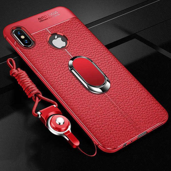 Luxury Litchi Leather Silicone Magnetic Car Holder Case For iPhone X/XR/XS/XS Max 8 7 6S 6/Plus