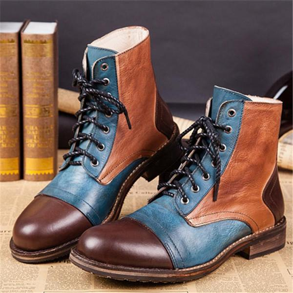 High Quality Men's Retro Style Mixed Color Leather Martin Boots