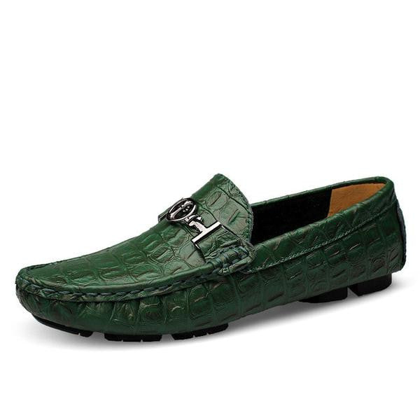 08664497a2872 Alligator Soft Leather Loafers Men Shoes – Feature Mall