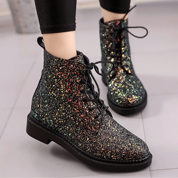 ad0923da66300 Woman Glitter Shoes Bling Lace up Ankle Boots Casual Heels Designers Brand