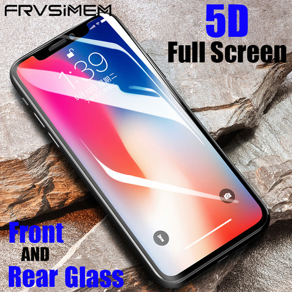 official photos bd16f 79660 Front + Back 5D Full Screen Cover Tempered Glass For iPhone X