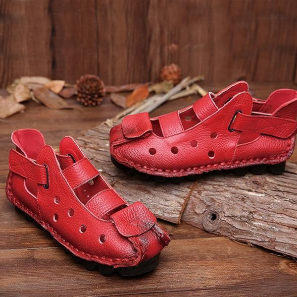 Soft Bottom Flat Genuine Leather Shoes Leisure Women Sandals