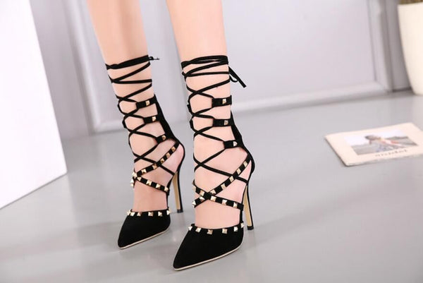 Women's Shoes - Hollow Cross Lace Up Rivets Stiletto High Heels