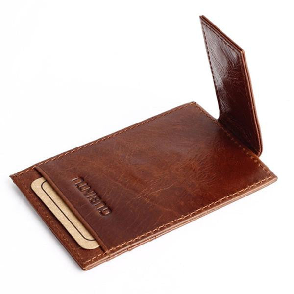 Wallet - Vintage Genuine Leather Money Clip Wallet with Clip