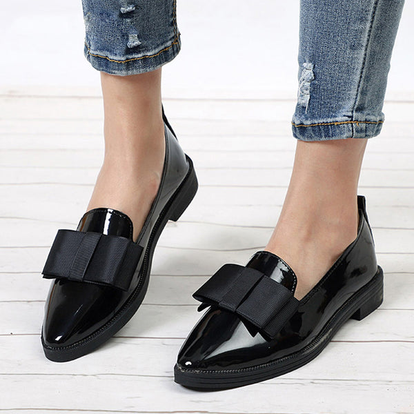 1309daf6a20 Summer Women Shoes Bow Tie Patent Leather Elegant Pointed Toe Low Heels  Loafers