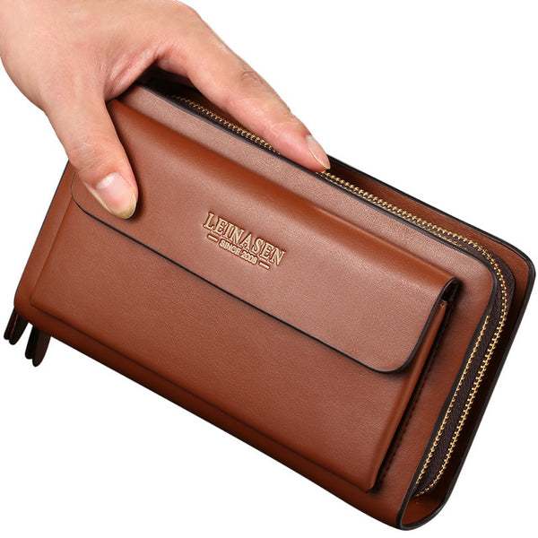 Leather Man Long Wallet Zipper Multifunction Wallet