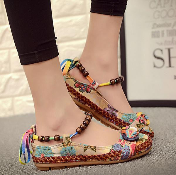 Handmade Beaded Ankle Women Shoes