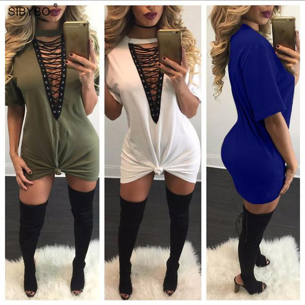 Dress - Deep V Neck Sexy Bodycon Dress