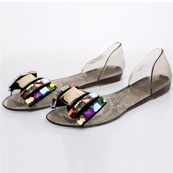 Shoes - Women Fashion Bling Bowtie Jelly Sandals