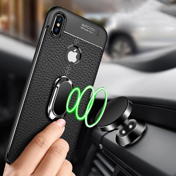 new product 88f18 7a9a5 Luxury Litchi Leather Silicone Magnetic Car Holder Case For iPhone  X/XR/XS/XS Max 8 7 6S 6/Plus