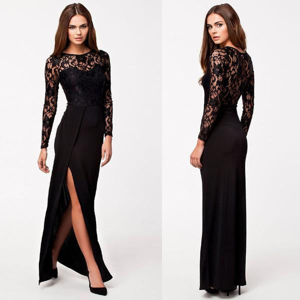 Dress - Sexy High Split Long Sleeve Lace Party Dress