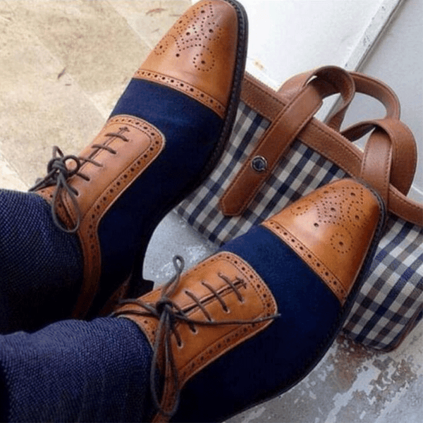 Men's fashion Dress Oxford Brogue Shoes Handmade Casual Shallow Flats