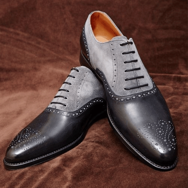 Men's Two-tone Brogues Handmade Boots Leather Oxfords Dress Shoes