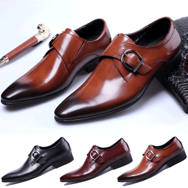 Men's Pointed-toe Leather Oxford Shoes Business Casual Flats