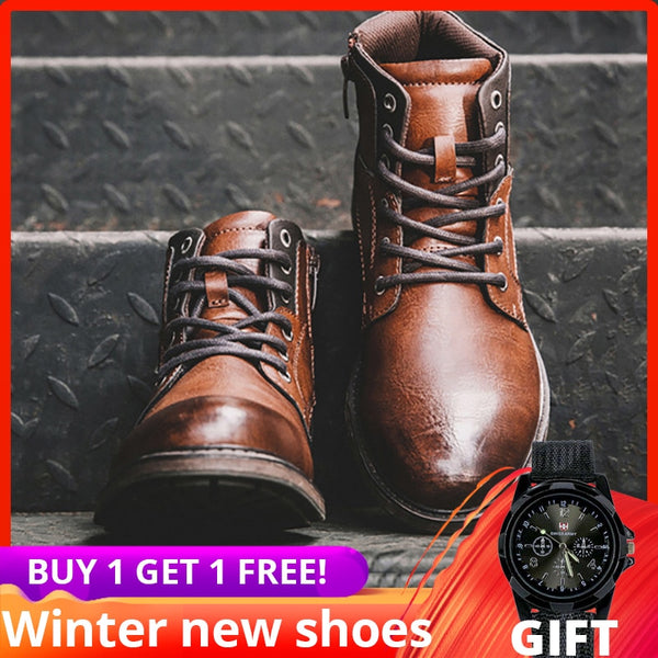 plus size men boots Vintage leather shoes