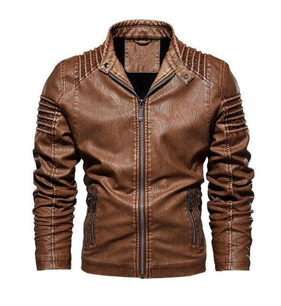 Men Winter Fleece Warm Faux Leather Military Pilot Bomber Motorcycle Jacket