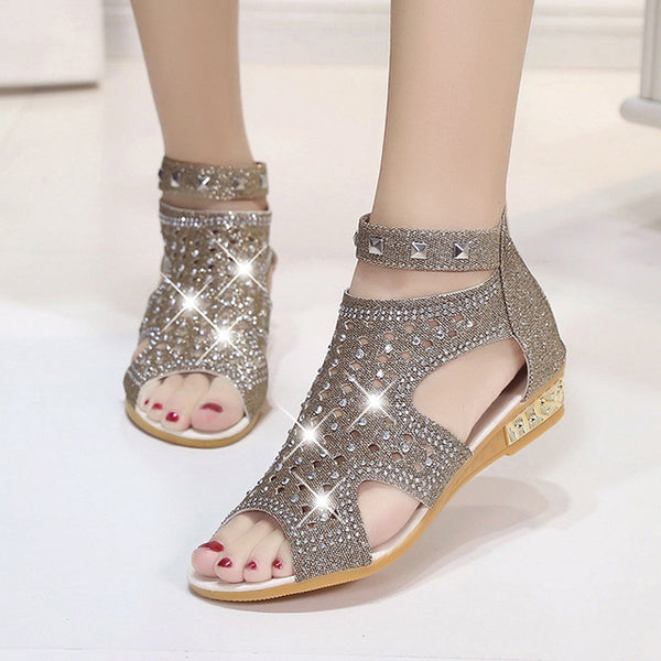 Casual Fashion Bling Sandals Ankle Strap Dress Heels