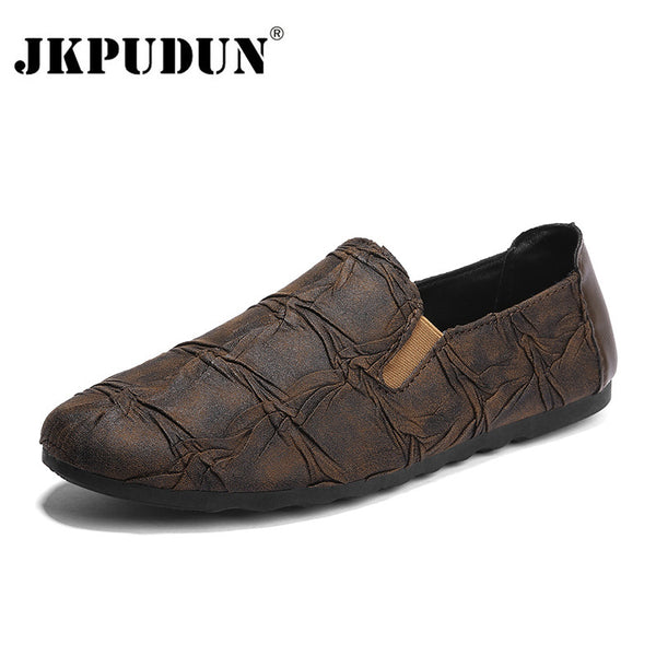 Men Casual Shoes Luxury Brand 2018 Italian Fashion Soft Leather Men Loafers 5c794f008682
