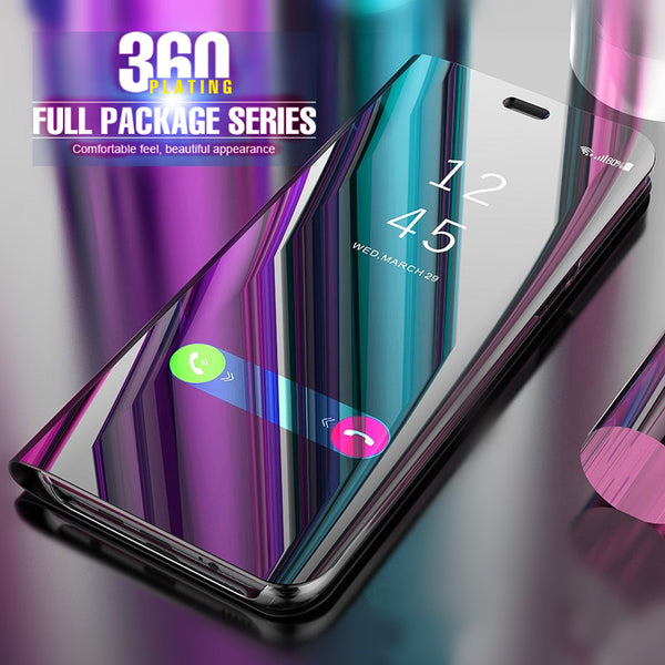 save off 460eb ea2ad Plating Luxury Mirror Flip Case For Huawei P10 P8 Honor 10 8 9