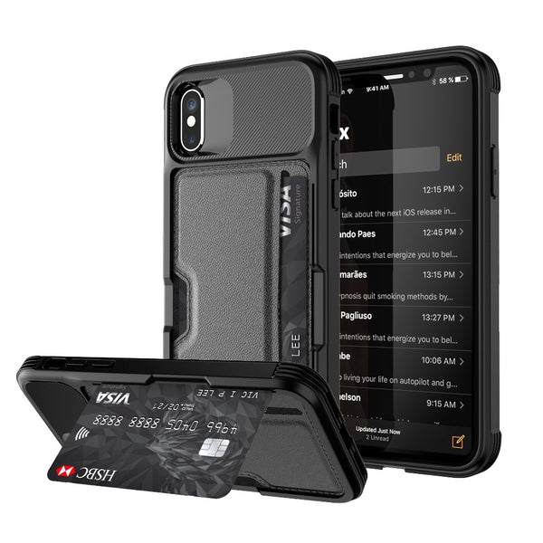 best sneakers 08560 62529 Soft TPU Back Case with Car Magnet and Credit Card Slots for iPhone 6 7 8  Plus XS MAX