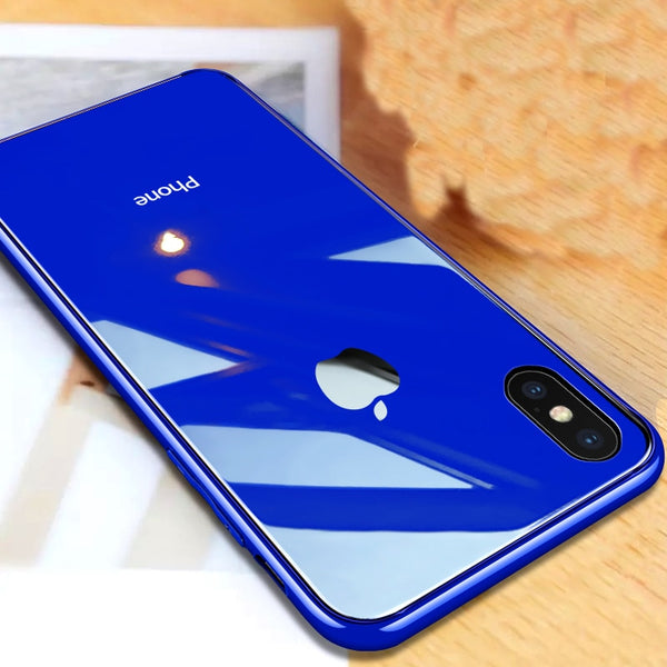 best website 1058b a5025 Silicon Frame Tempered Glass back Cover For Iphone X/Xs max/XR/XS(Have Logo)