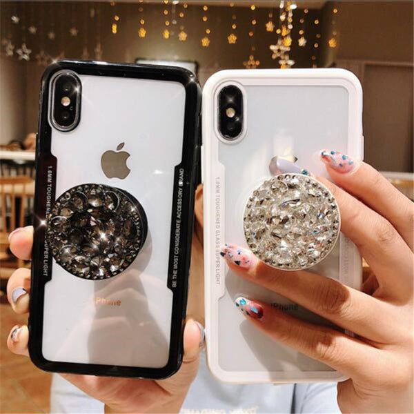 buy popular 91ce3 465d9 Crystal Glitter Rhinestone Finger Ring Case for iPhone XS Max XR XS
