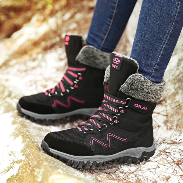 90347d02c2bb1 Women Snow Boots Plush Women's Boots Waterproof Suede Leather Ankle Boots  Flat Shoes