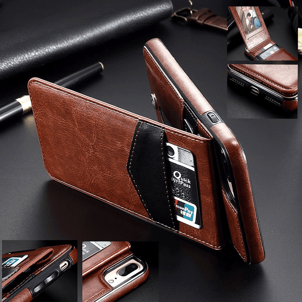 86b16acc5d7c Luxury Vertical Flip Card Holder Retro Cover Leather Case For iPhone X 7 8 6  (