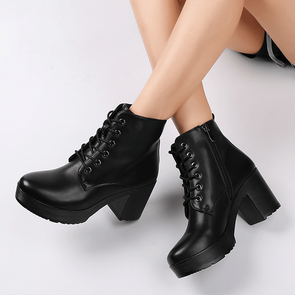 16fd5031f588 Women Platform Shoes Ankle Boots Soft Leather Thick High Heel Warm ...