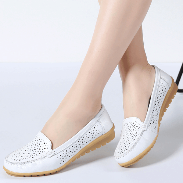 118a14617d6 Women Flats Shoes Genuine Leather Cutout loafers Slip on ballet ...