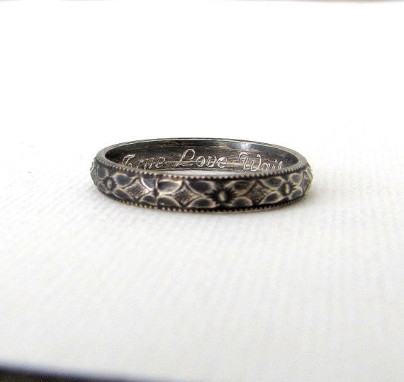 Thin Antique Floral Silver Women's Wedding Band Purity Ring
