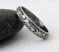 Antique Vine Silver Women's or Men's Wedding Band