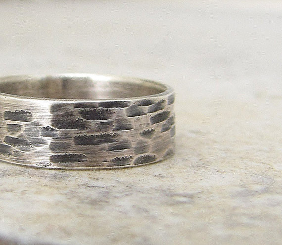 Mens Rustic Bark Wedding Band Birch Silver Ring