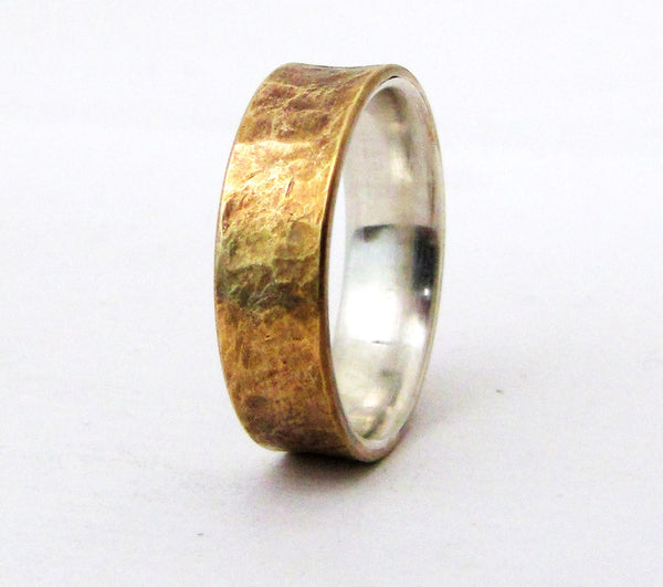 Brass Distressed Ring Silver Liner Rustic Wedding Band Mens Rugged Unique Wedding Ring