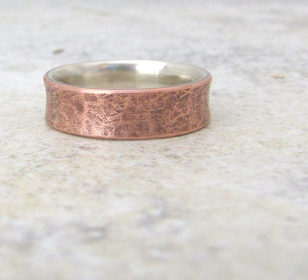 Copper Distressed Ring Silver Liner Rustic Wedding Band Mens Wedding Rings - Relic Artifact