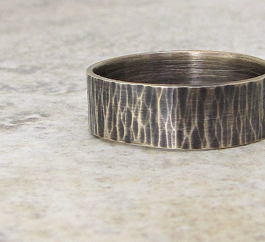 Ripple Rustic Men's Wedding Band Unique Men's Silver Ring