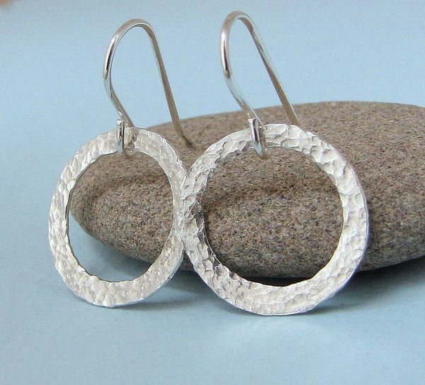 Silver Hoop Earrings Hammered Circle Earrings