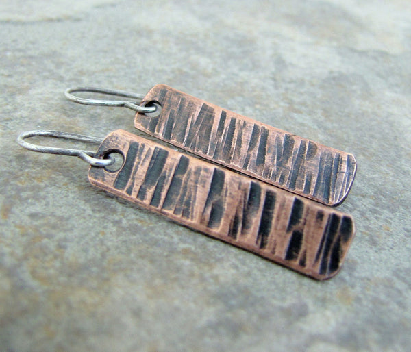 Hammered Copper Earrings Bark Stick Tab Earrings Birch Bark Dangles