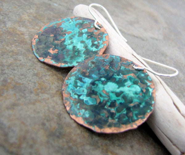 Patina Copper Earrings Hammered Copper Earrings Turquoise Teal Earrings