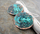 Turquoise Teal Earrings Patina Copper Earrings Hammered Copper Earrings Rustic Teal Earrings