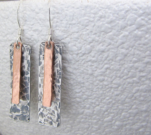 Silver Copper Earrings Mixed Metal Tab Stick Earrings Rustic Silver Earrings Multi-Metal Earrings