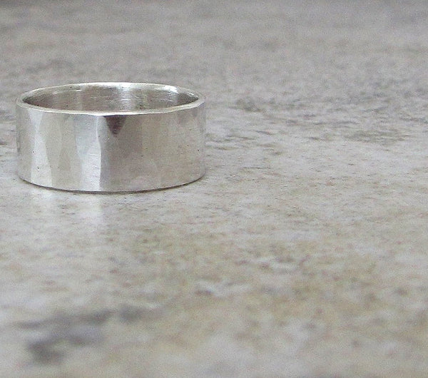 Mens Wedding Band Hammered Silver Ring Faceted Band Wedding Ring