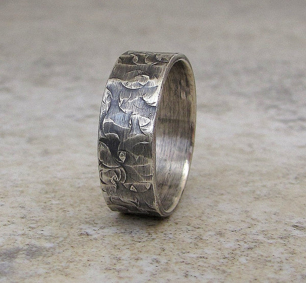 Mens Wedding Band Hammered Silver Ring Distressed Circles Wedding Ring Rustic Wedding Band
