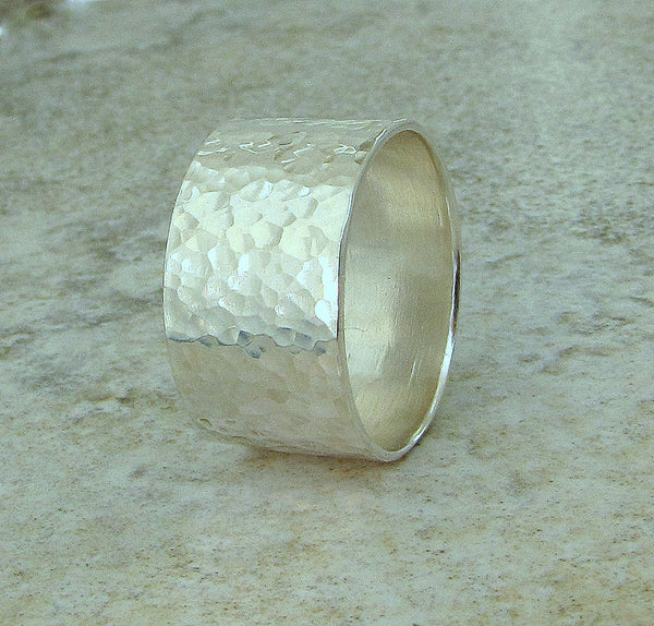 Mens Wedding Band Silver Hammered Ring Wedding Ring Wide Silver Ring First Finger Rings